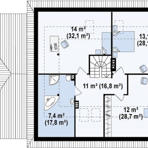 План второго этажа проекта Z84 GL