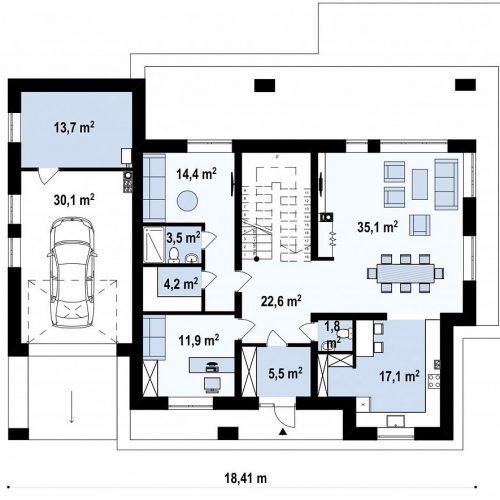 План первого этажа проекта Zx109 v1