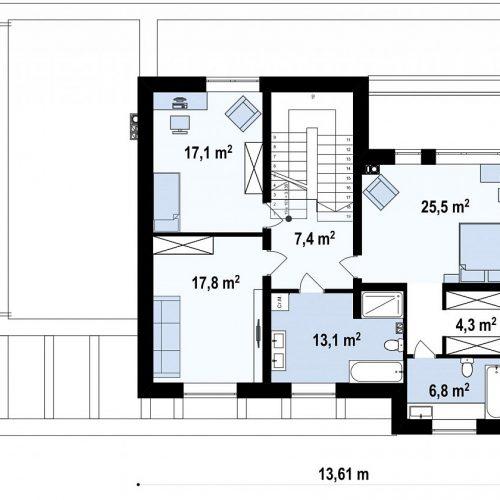 План второго этажа проекта Zx109 v1
