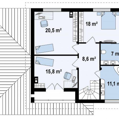 План второго этажа проекта Zx12 k