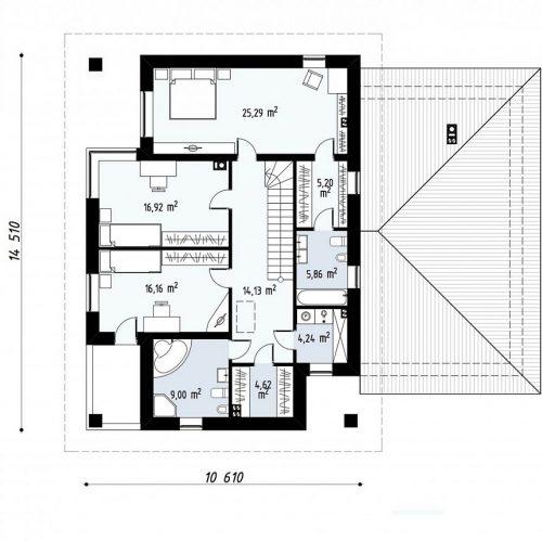План второго этажа проекта Zx122