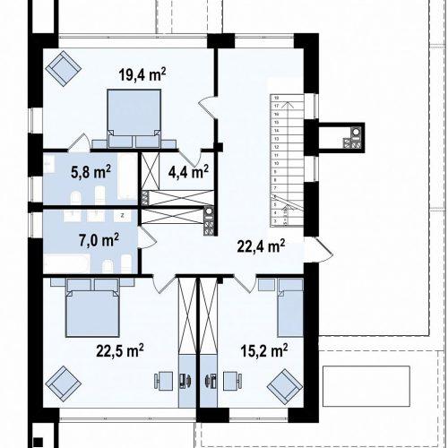 План второго этажа проекта Zx123 P