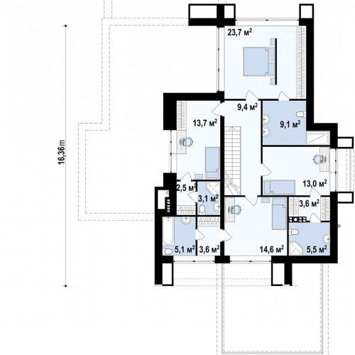 План второго этажа проекта Zx125