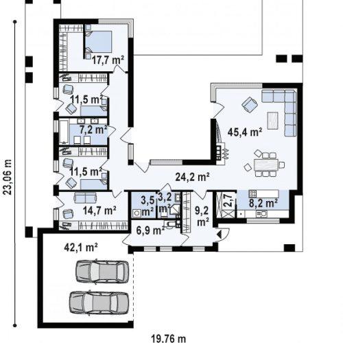 План первого этажа проекта Zx128
