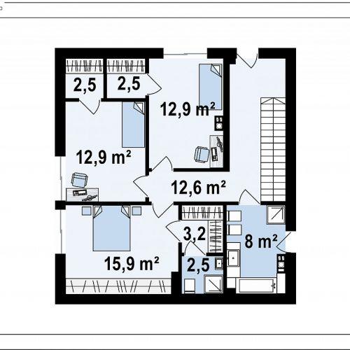 План второго этажа проекта Zx143
