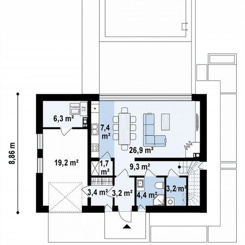 План первого этажа проекта Zx148