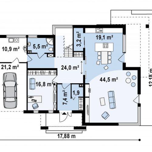 План первого этажа проекта Zx15