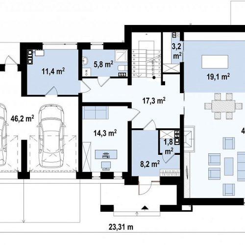 План первого этажа проекта Zx15 GL2 P