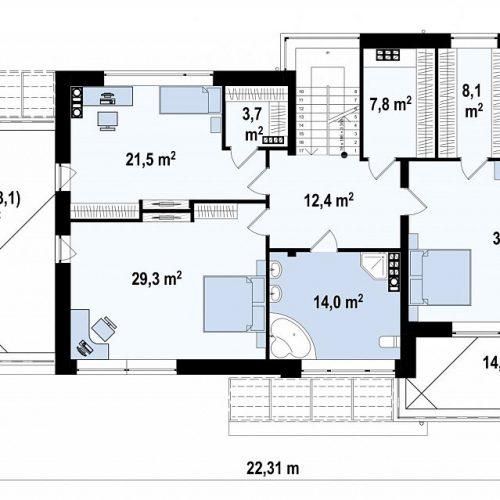 План второго этажа проекта Zx15 GL2 P