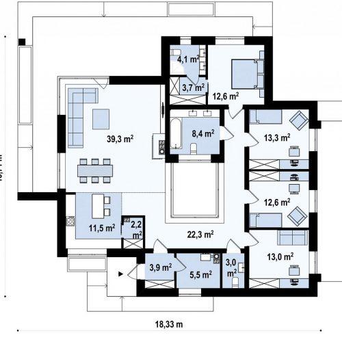 План первого этажа проекта Zx153
