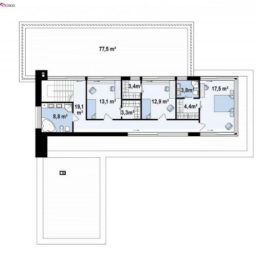 План второго этажа проекта Zx154
