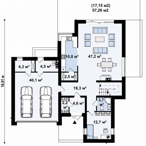 План первого этажа проекта Zx182