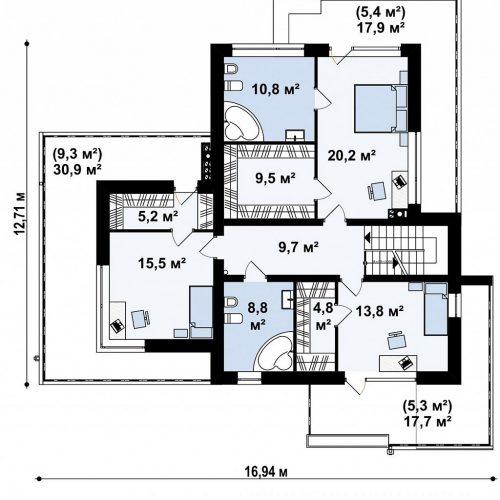 План второго этажа проекта Zx182
