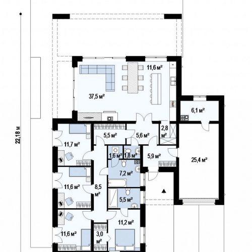 План первого этажа проекта Zx185