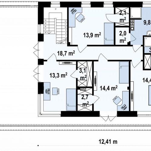 План второго этажа проекта Zx21