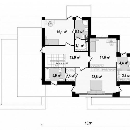 План второго этажа проекта Zx22