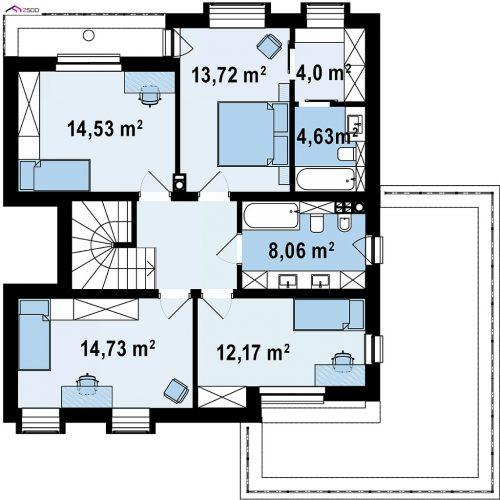План второго этажа проекта Zx255