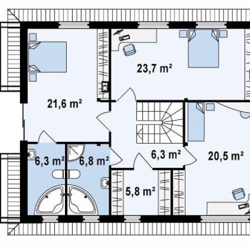 План второго этажа проекта Zx29 k