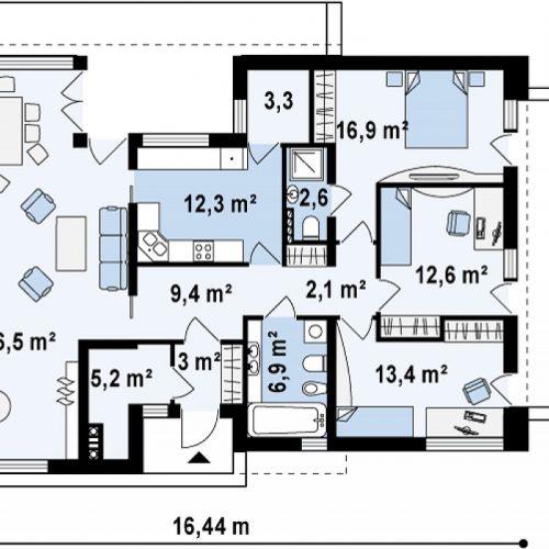 План первого этажа проекта Zx34