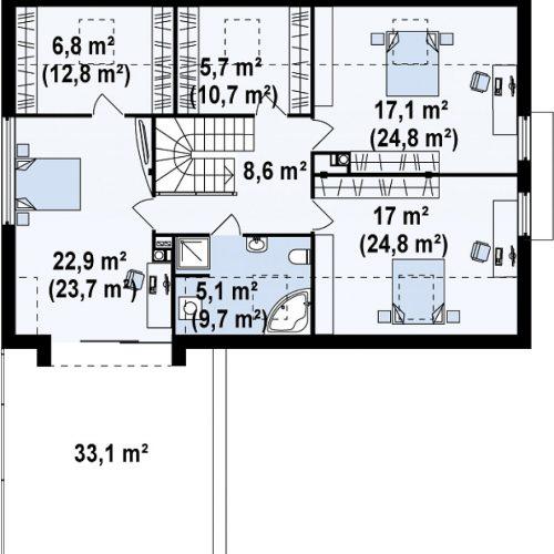 План второго этажа проекта Zx36