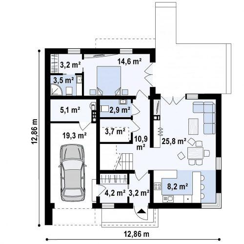 План первого этажа проекта Zx46 minus