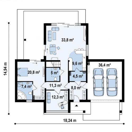 План первого этажа проекта Zx48