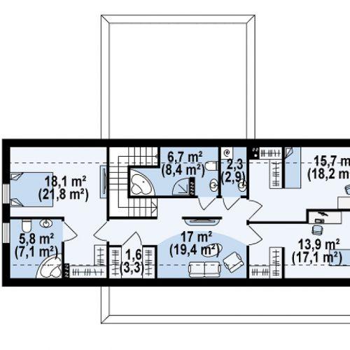 План второго этажа проекта Zx48