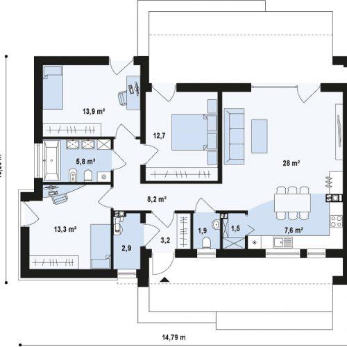 План первого этажа проекта Zx53