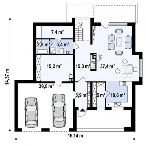 План первого этажа проекта Zx62