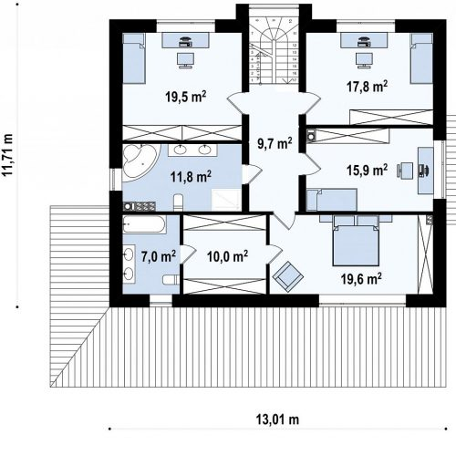 План второго этажа проекта Zx62 A