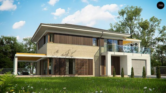 Фото проекта дома Zx63 B + вид с улицы