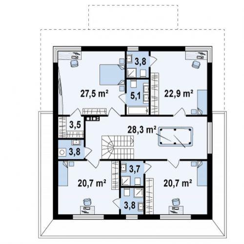 План второго этажа проекта Zx66