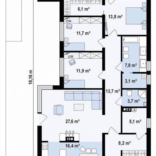 План первого этажа проекта Zx67