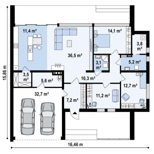 План первого этажа проекта Zx72 minus