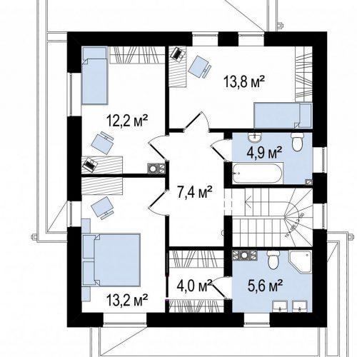 План второго этажа проекта Zx92