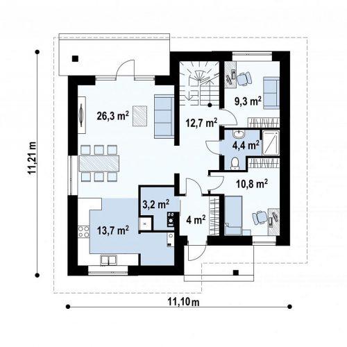 План первого этажа проекта Zz1