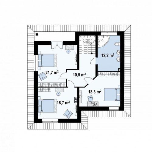 План второго этажа проекта Zz1