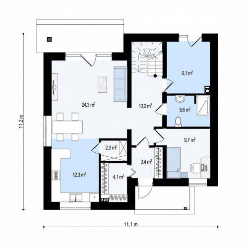 План первого этажа проекта Zz1 a