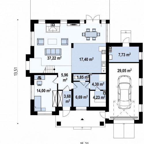 План первого этажа проекта Zz2 L +