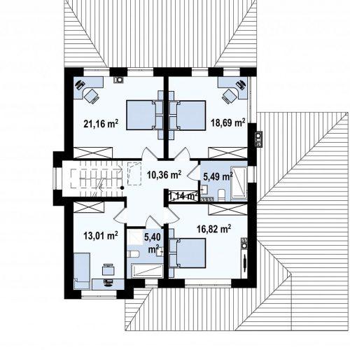 План второго этажа проекта Zz2 L +