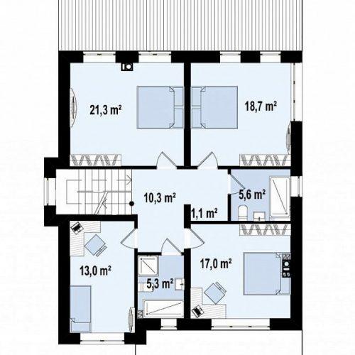 План второго этажа проекта Zz2 L BG
