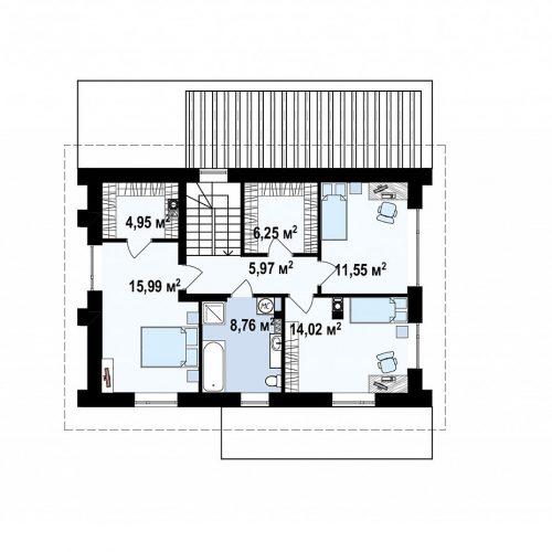План второго этажа проекта Zz4